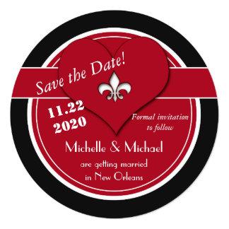 Économies de coeur de Round Fleur de Lis la date Carton D'invitation 13,33 Cm