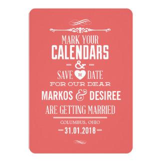 Économies de corail de rose l'invitation de date carton d'invitation  12,7 cm x 17,78 cm