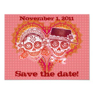 Économies de crâne de sucre les dates carton d'invitation 10,79 cm x 13,97 cm