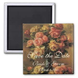 Économies de cru la date ! Roses dans un vase 3 Aimant Pour Réfrigérateur