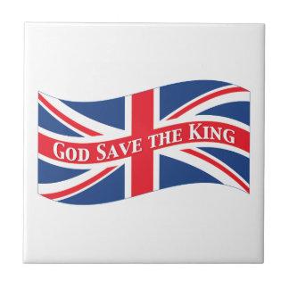 Économies de Dieu le roi avec Union Jack Petit Carreau Carré