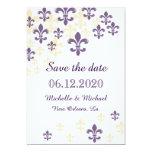 Économies de Fleur de Lis Cascade la date Carton D'invitation 12,7 Cm X 17,78 Cm