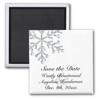 Économies de flocon de neige d'hiver l'aimant de magnet carré