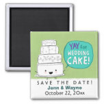 Économies de gâteau de mariage la date magnets pour réfrigérateur
