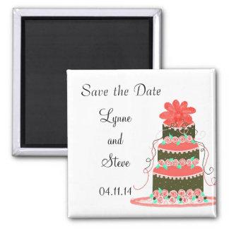 Économies de gâteau de mariage la date magnet carré