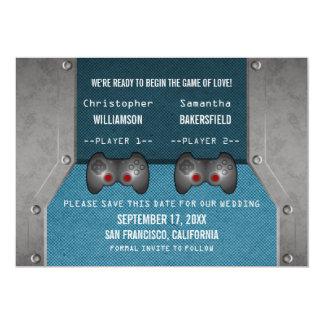 Économies de jeu vidéo l'invitation de date, bleu carton d'invitation  12,7 cm x 17,78 cm