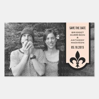Économies de Linen Fleur De Lis Banner les Sticker Rectangulaire
