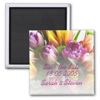 Économies de luxe de bouquet de tulipes de ressort magnets
