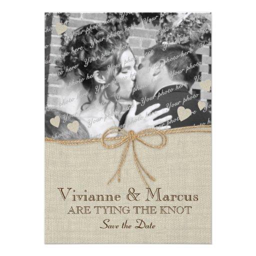 Économies de mariage campagnard la date cartons d'invitation