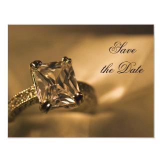 Économies de mariage de bague à diamant de carton d'invitation 10,79 cm x 13,97 cm