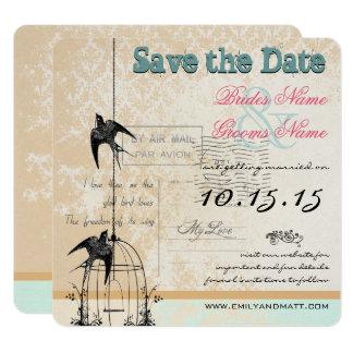 Économies de mariage de cage à oiseaux de damassé carton d'invitation  13,33 cm
