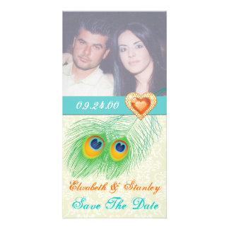 Économies de mariage de coeur de bijou de plume de photocarte personnalisée