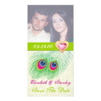Économies de mariage de coeur de bijou de plume de modèle pour photocarte