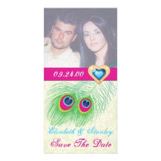 Économies de mariage de coeur de bijou de plume de photocarte