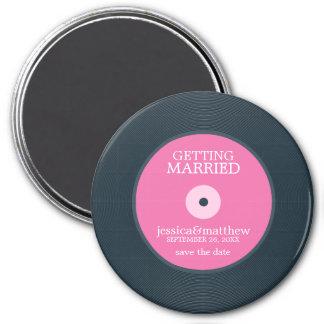 Économies de mariage de disque vinyle la date aimant