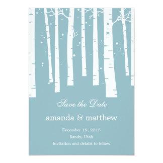 Économies de mariage de forêt d'hiver les cartes invitation