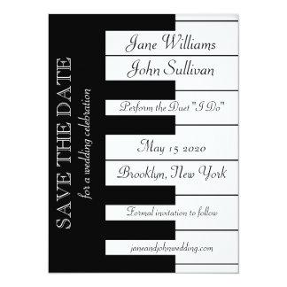 Économies de mariage de musique de clavier de carton d'invitation  13,97 cm x 19,05 cm