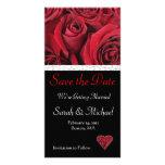 Économies de mariage de rose rouge la carte de dat photocarte personnalisée
