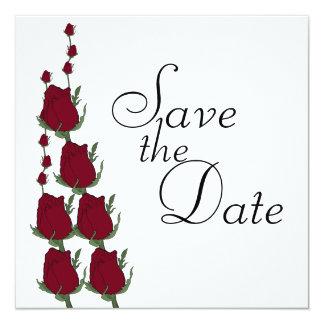 Économies de mariage de rose rouge les annonces de carton d'invitation  13,33 cm