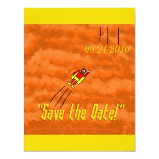 Économies de mariage de super héros la carte de carton d'invitation 10,79 cm x 13,97 cm