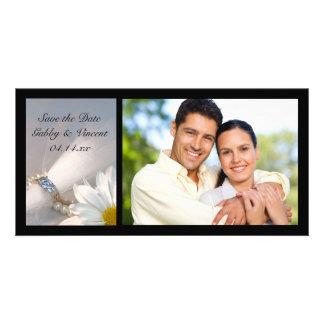 Économies de mariage d'élégance de marguerite carte avec photo