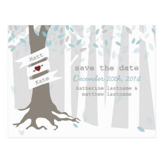 Économies de mariage d'hiver de forêt de neige la cartes postales