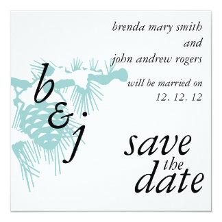 Économies de mariage d'hiver le pin d'annonces de carton d'invitation  13,33 cm