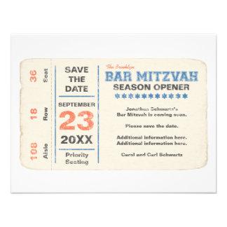 Économies de Mitzvah de barre d'étoile de sports l Carton D'invitation