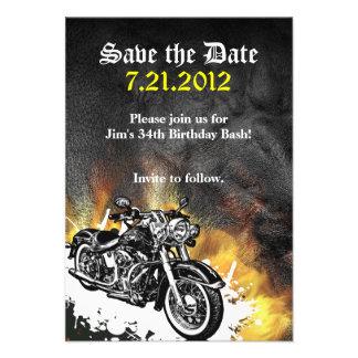 Économies de motard de moto le faire-part de date