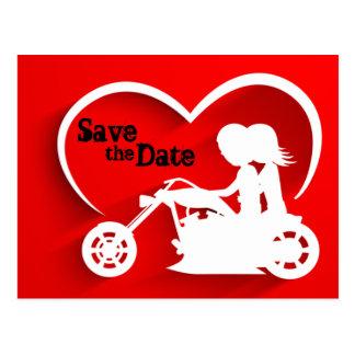 Économies de moto la date épousant Announcemet Carte Postale