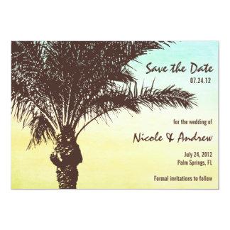 Économies de palmier de coucher du soleil le carton d'invitation  12,7 cm x 17,78 cm