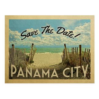 Économies de Panamá City la plage vintage de date Carte Postale