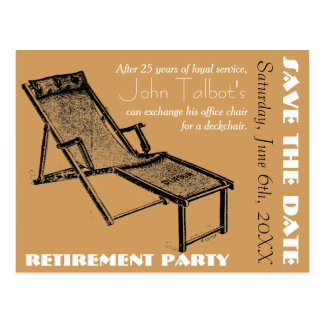 Économies de partie de retraite de chaise longue carte postale