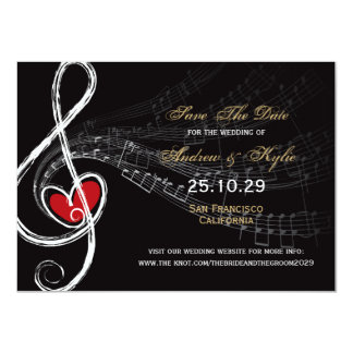 Économies de photo d'artiste d'amour et de musique carton d'invitation  11,43 cm x 15,87 cm