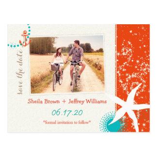 Économies de photo de mariage de destination carte postale