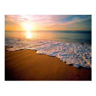 Économies de plage de coucher du soleil la carte carte postale