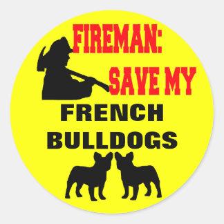 Économies de pompier mes bouledogues français sticker rond