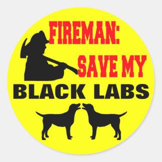 Économies de pompier mes laboratoires noirs sticker rond