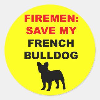 Économies de pompier mon bouledogue français sticker rond