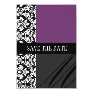 Économies de pourpre de damassé la carte de date carton d'invitation  12,7 cm x 17,78 cm