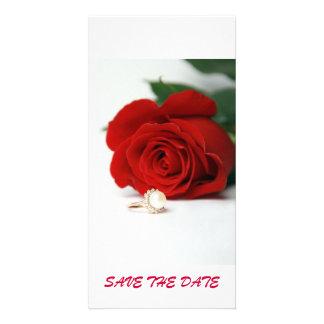 ÉCONOMIES de rose rouge de carte postale LA DATE Cartes De Vœux Avec Photo