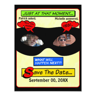 Économies de super héros la date carton d'invitation 10,79 cm x 13,97 cm