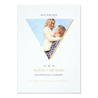 Économies de triangle d'abrégé sur scintillement carton d'invitation  12,7 cm x 17,78 cm