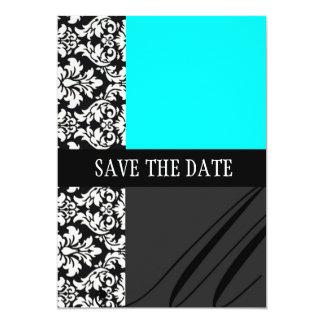 Économies de turquoise de damassé la carte de date carton d'invitation  12,7 cm x 17,78 cm