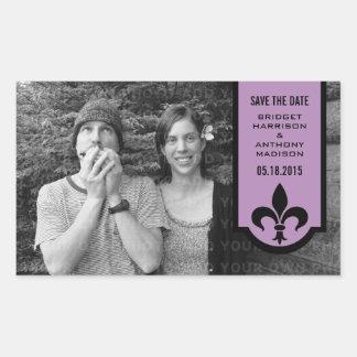 Économies de Violet Fleur De Lis Banner les Sticker Rectangulaire