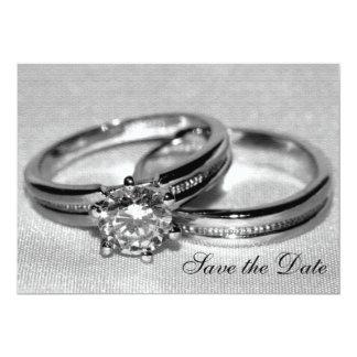 Économies d'ensemble d'anneau de noces de diamant carton d'invitation  12,7 cm x 17,78 cm