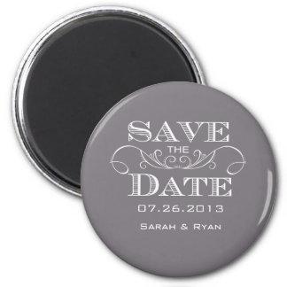 Économies élégantes de gris l'aimant de date magnet rond 8 cm