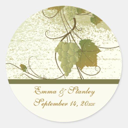 Économies élégantes de mariage de automne de vigne adhésifs ronds