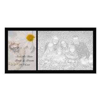 Économies élégantes de mariage de marguerite le photocarte personnalisée