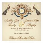 Économies élégantes de paon les cartes de date carton d'invitation  13,33 cm